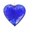 Glass Lamp Pendant Heart 26mm Cobalt Blue/Silver